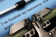 Manuscript on typewriter machine Stock Photos
