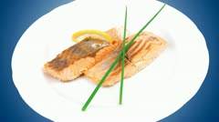 Baked pink salmon steaks Stock Footage