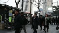 People on street in Seoul Stock Footage