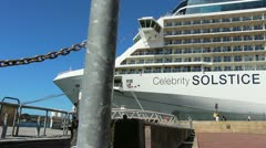 Stock Video Footage of Celebrity Soltise cruise liner in Sydney, glidetrack (2)