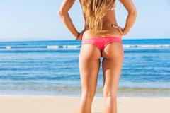 young sexy woman in bikini - stock photo