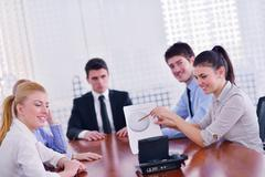 business people in a video meeting - stock photo