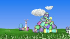 Easter Bunny Workers Happy Clouds Stock Footage