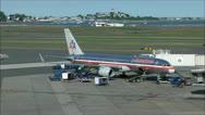 Ground crew baggage handlers airplane Stock Footage