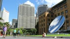 Sydney cityscape & Anish Kapoor art (5) glidetrack Stock Footage