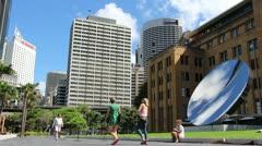 Sydney cityscape & Anish Kapoor art (6) glidetrack Stock Footage