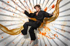 Martial arts expert mid air - stock illustration