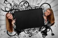 Stock Illustration of Girls pointing to black copy space with artistic swirl frame