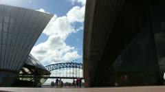 Japanese tourists at Sydney Opera House (glidetrack) Stock Footage