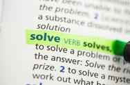 Stock Photo of Solve definition highlighted
