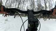 Stock Video Footage of Riding a bicycle in the park with the dogs at winter