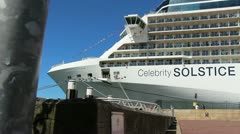 Stock Video Footage of Celebrity Soltise cruise liner in Sydney, glidetrack (3)