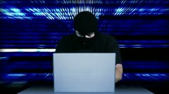 Hacker Working Table Arrested 15 720 - stock footage