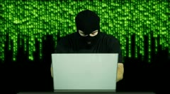 Hacker Working Table Arrested 18 720 - stock footage