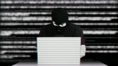 Hacker Working Table Arrested Matrix 3 720 - stock footage
