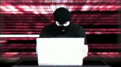 Hacker Working Table Arrested Matrix 8 720 - stock footage