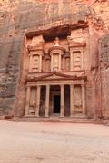 facade of the treasury in petra, jordan - stock photo