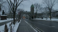 Scenes from Quebec City - old city gates in winter Stock Footage