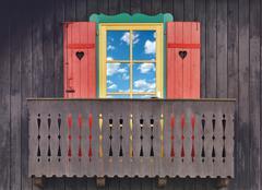 wooden chalet balcony - stock photo