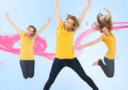 Stock Illustration of Three of the same young woman jumping for joy