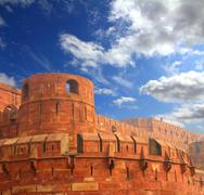 red fort wall in agra - stock photo