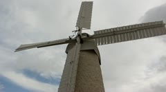 Old windmill made of white breaks Stock Footage