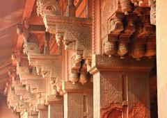 Columns in red fort of agra Stock Photos