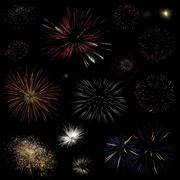Fireworks collection Stock Photos