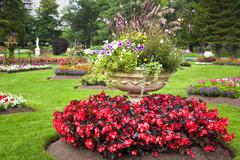 pedestal garden planters - stock photo
