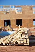 lumber pile - stock photo
