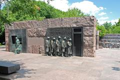 outdoor view of hunger sculpture of franklin delano roosevelt memorial in was - stock photo