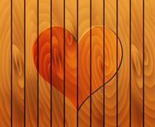 Heart on wooden texture Stock Illustration