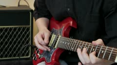 Fast picking notes on the guitar Stock Footage