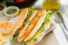 assorted panini sandwich - stock photo
