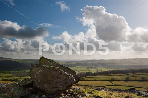 Stock photo of norber erratics landscape in yorkshire dales national park