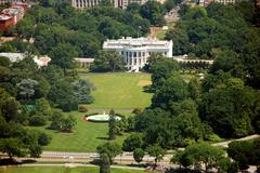 Aerial view of The White house in Washington DC - stock photo