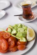close up to classic turkish style breakfast food plates - stock photo