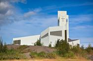 Stock Photo of white modern iceland church