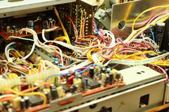 Microchips, wires and capacitors Stock Photos
