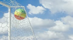 Bolivian ball scores in slow motion with sky background Stock Footage