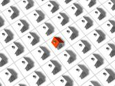 Stock Illustration of One red roofed 3d house surrounded by many