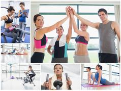 Collage of happy people at the gym Stock Photos