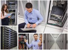Collage of data center workers - stock photo
