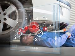 Laying mechanic consulting interface - stock photo
