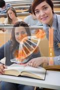 Teacher and student looking futuristic interface with DNA Stock Illustration