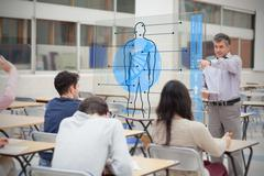 Teacher with futuristic interface pointing student - stock illustration