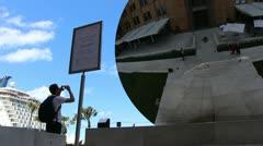 Sydney cityscape & Anish Kapoor art (8) glidetrack Stock Footage