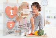 Cute couple making dinner using interface instructions Stock Illustration