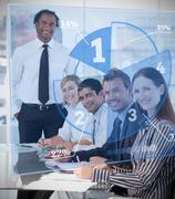 Smiling business people using blue pie chart interface - stock illustration