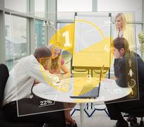Business people using yellow pie chart interface - stock illustration